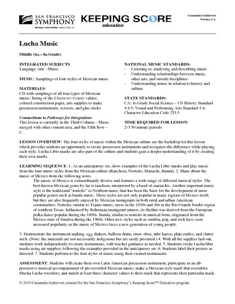 Lucha Music Lesson Plan