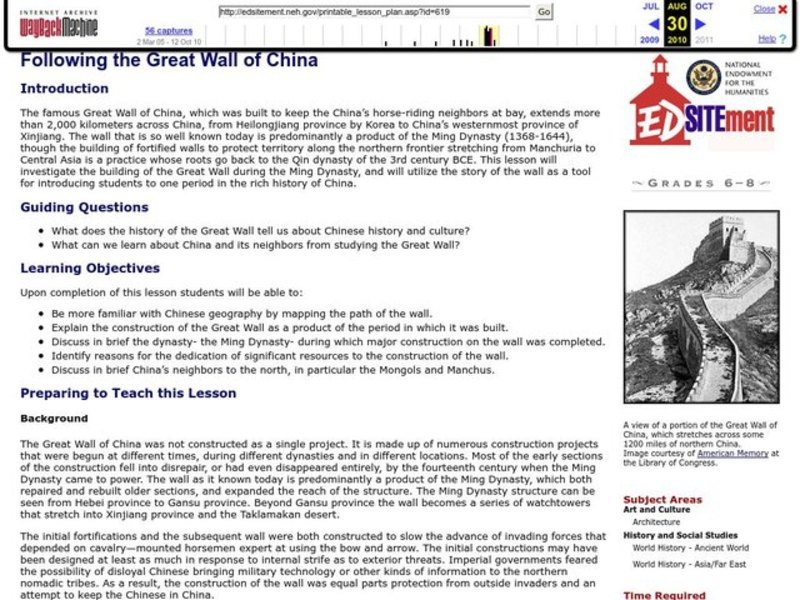 Following the Great Wall of China Lesson Plan