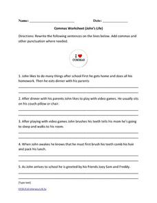 Commas Worksheet (John's Life) Activities & Project