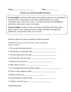 Formal versus Informal English Worksheet Worksheet