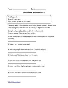 Points of View Worksheet (RL.6.6) Activities & Project