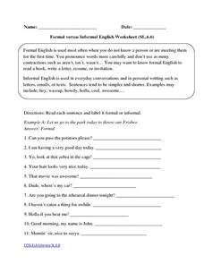 Formal vs. Informal Language - Conversations from the Classroom