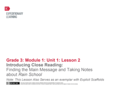 Introducing Close Reading: Finding the Main Message and Taking Notes About Rain School Lesson Plan