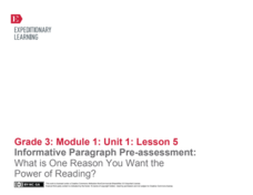 Informative Paragraph Pre-Assessment: What Is One Reason You Want the Power of Reading? Lesson Plan
