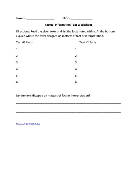 Factual Information Text Worksheet Worksheet