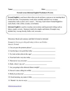Formal versus Informal English Worksheet (W.6.1d) Worksheet