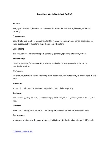 Transitional Words Worksheet Handouts & Reference