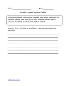 Concluding Paragraph Worksheet (W.6.3e) Worksheet