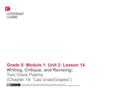 "Writing, Critique, and Revising: Two-Voice Poems (Chapter 14: ""Las Ucas/Grapes"") Lesson Plan"