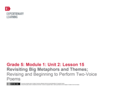 Revisiting Big Metaphors and Themes: Revising and Beginning to Perform Two-Voice Poems Lesson Plan