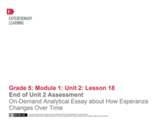 End-Of-Unit 2 Assessment: On-Demand Analytical Essay About How Esperanza Changes Over Time Assessment