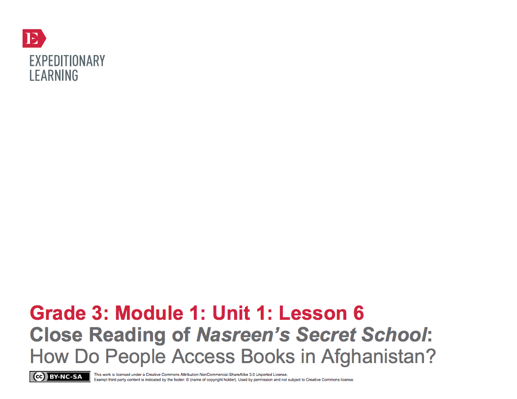 Close Reading of Nasreen's Secret School: How Do People Access Books in Afghanistan? Lesson Plan