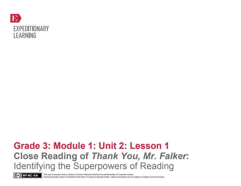 Close Reading of Thank You, Mr. Falker: Identifying the Superpowers of Reading Lesson Plan