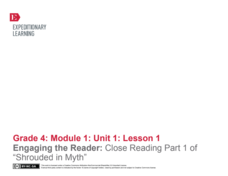 "Engaging the Reader: Close Reading Part 1 of ""Shrouded in Myth"" Lesson Plan"