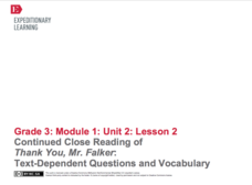 Continued Close Reading of Thank You, Mr. Falker: Text Dependent Questions and Vocabulary Lesson Plan