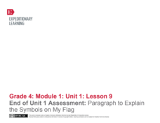 End of Unit 1 Assessment: Paragraph to Explain the Symbols on My Flag Lesson Plan