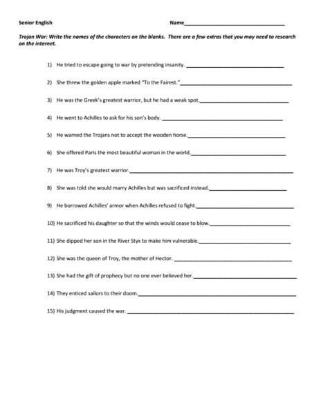 Trojan War Character Worksheet 9th - 12th Grade Worksheet | Lesson ...