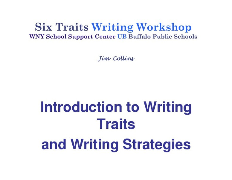 Introduction to Writing Traits and Writing Strategies Presentation