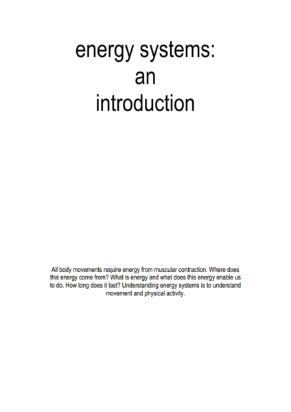 Energy Systems: An Introduction Worksheet for 9th - 12th ...