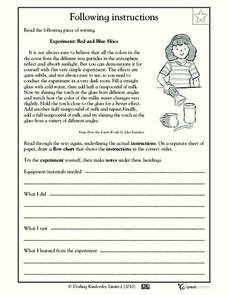 Following Instructions Worksheet