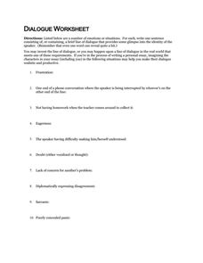 Dialogue Worksheet Worksheet