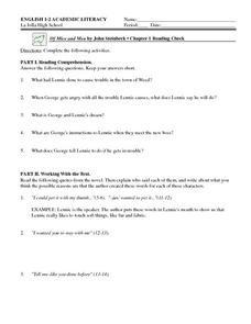 Of Mice and Men by John Steinbeck: Chapter 1 Reading Check Worksheet