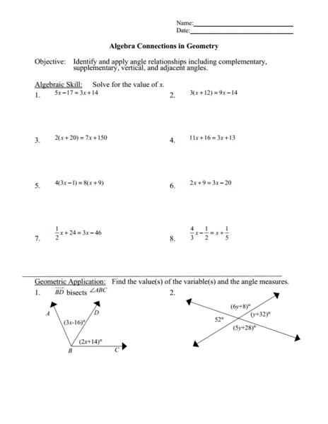solving equations 39 angle measurements worksheet for 8th 11th grade lesson planet. Black Bedroom Furniture Sets. Home Design Ideas