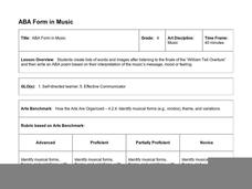 ABA Form in Music Lesson Plan