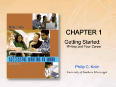 Chapter 1: Getting Started: Writing and Your Career Presentation