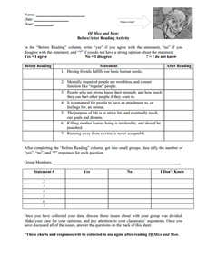 Of Mice and Men: Before/After Reading Activity Worksheet