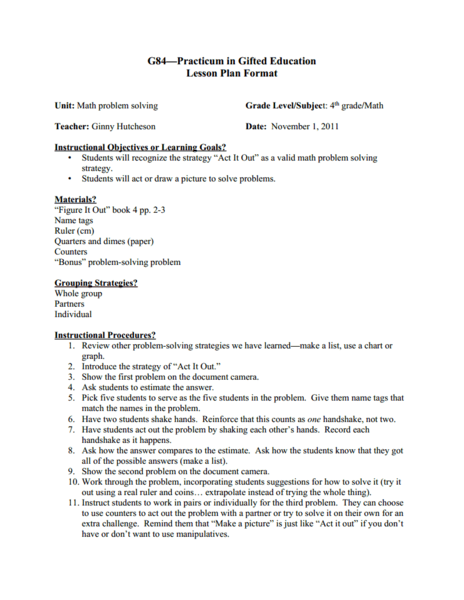 Math Problem Solving Lesson Plan For Th Grade Lesson Planet - Gifted lesson plan template
