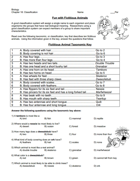 Fun with Fictitious Animals Worksheet