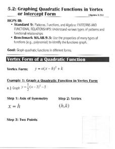 Graphing Quadratic Functions in Vertex or Intercept Form Worksheet