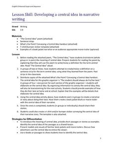 developing a central idea in narrative writing lesson plan for 3rd