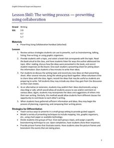 The Writing Process- Prewriting Using Collaboration Lesson Plan