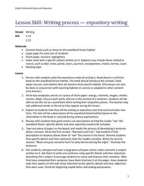 Writing Process- Expository Writing Lesson Plan