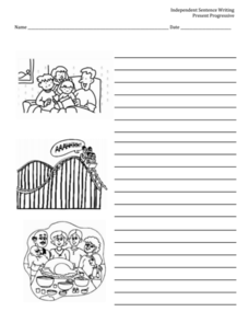 Independent Sentence Writing: Present Progressive Worksheet
