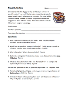 Novel Activities Worksheet