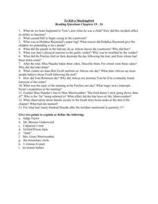 To Kill A Mockingbird Reading Aids: Chapters 19-24 Worksheet