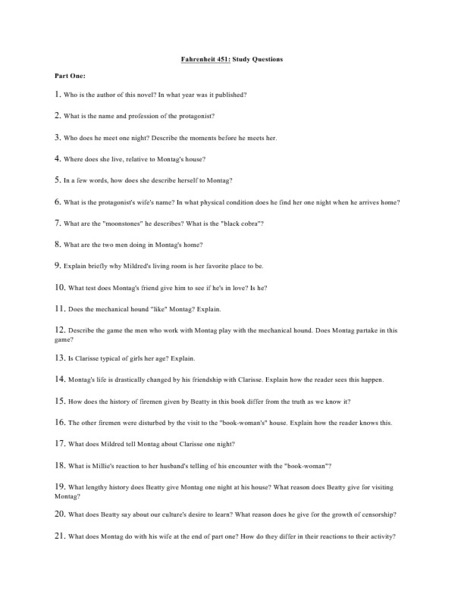 Fahrenheit 451 Study Questions Part 1 Worksheet For 9th