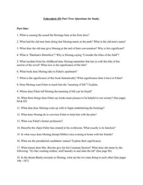 Fahrenheit 451 Study Questions Part 2 Worksheet For 9th 12th