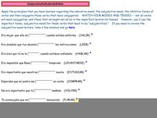 Subjunctive/Indicative/Infinitive Part Three Activities & Project
