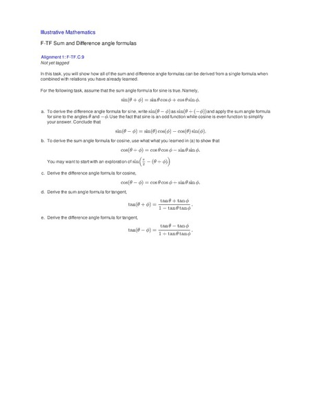Sum and Difference angle formulas Activities & Project
