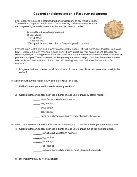 Coconut and Chocolate Chip Passover Macaroons Worksheet