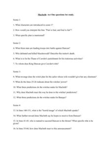 Macbeth: Act One Questions for Study Worksheet