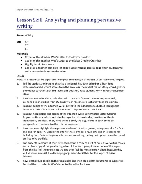 Analyzing and Planning Persuasive Writing Lesson Plan