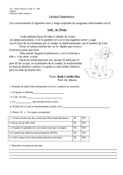 Reading Comprehension: Loly la Oveja Worksheet