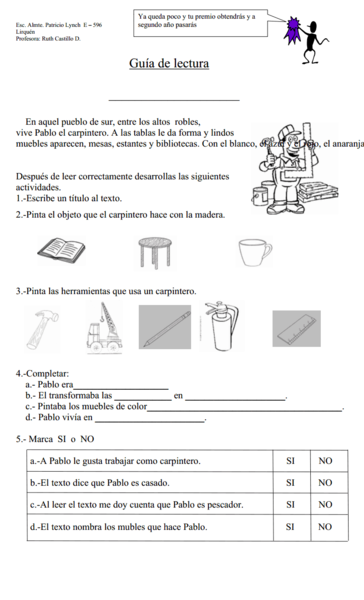 Reading Comprehension: el carpintero Worksheet
