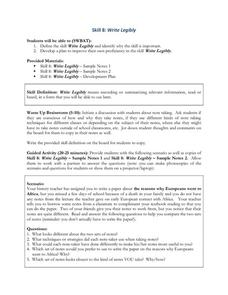 Skill Eight: Write Legibly Lesson Plan
