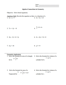 Solving Literal Equations Worksheet For 9th 12th Grade Lesson Planet